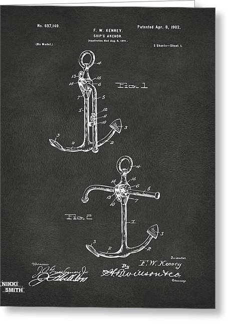Ships And Boats Greeting Cards - 1902 Ships Anchor Patent Artwork - Gray Greeting Card by Nikki Marie Smith