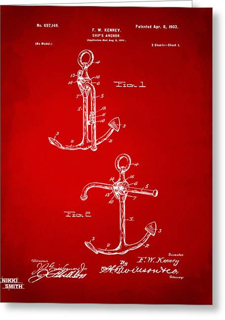 Ships And Boats Greeting Cards - 1902 Ships Anchor Patent Artwork - Red Greeting Card by Nikki Marie Smith