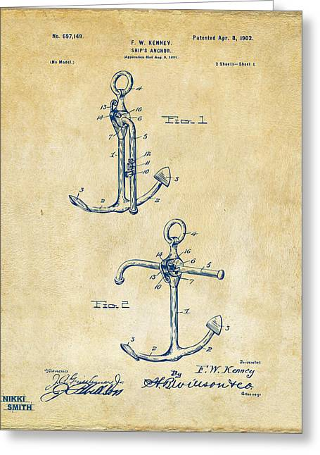 Sailboat Art Greeting Cards - 1902 Ships Anchor Patent Artwork - Vintage Greeting Card by Nikki Marie Smith