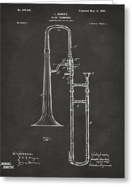 Conductor Greeting Cards - 1902 Slide Trombone Patent Artwork - Gray Greeting Card by Nikki Marie Smith