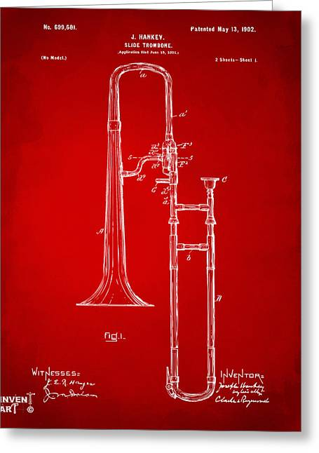 Marching Band Greeting Cards - 1902 Slide Trombone Patent Artwork Red Greeting Card by Nikki Marie Smith