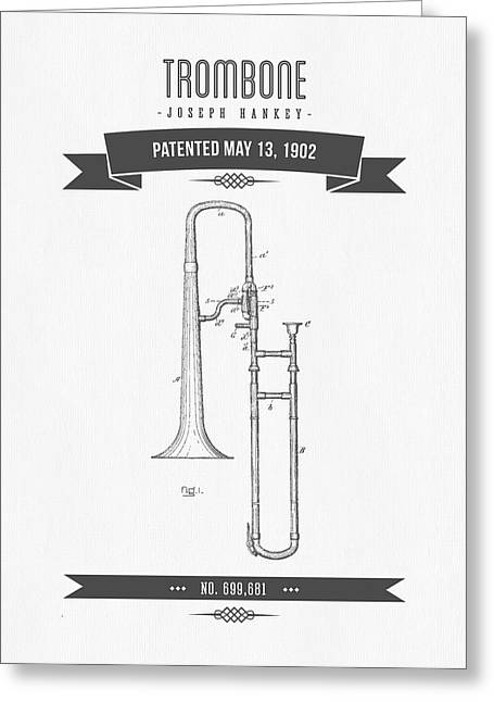 Instrument Mixed Media Greeting Cards - 1902 Trombone Patent Drawing Greeting Card by Aged Pixel