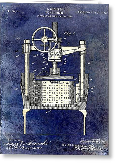 Wine Vineyard Greeting Cards - 1902 Wine Press Patent Drawing 2 Tone Blue Greeting Card by Jon Neidert
