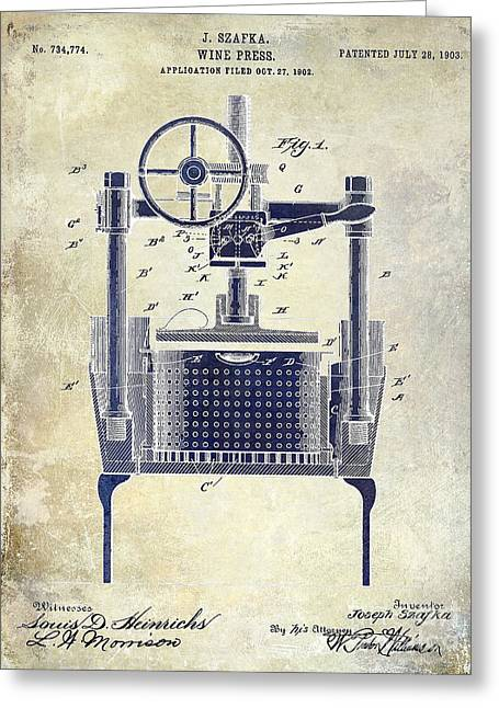 Wine Vineyard Greeting Cards - 1902 Wine Press Patent Drawing 2 Tone Greeting Card by Jon Neidert