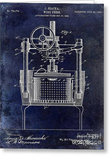 Capsule Greeting Cards - 1902 Wine Press Patent Drawing Blue Greeting Card by Jon Neidert