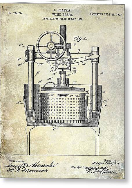 Red Wine Bottle Greeting Cards - 1902 Wine Press Patent Drawing Greeting Card by Jon Neidert