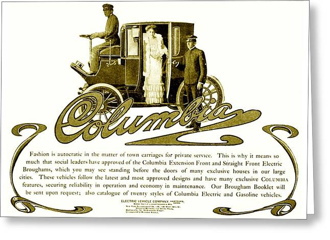 1907 Digital Greeting Cards - 1903 - Columbia Motor Carriage Advertisement Greeting Card by John Madison
