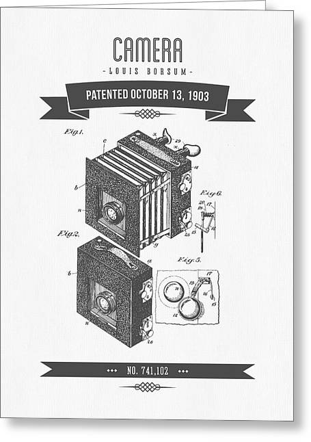 Camera Greeting Cards - 1903 Camera Patent Drawing - Retro Gray Greeting Card by Aged Pixel