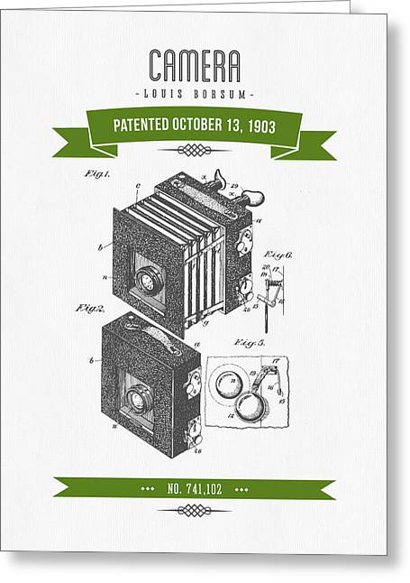 Camera Greeting Cards - 1903 Camera Patent Drawing - Retro Green Greeting Card by Aged Pixel