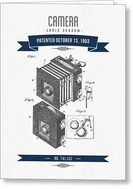 Camera Greeting Cards - 1903 Camera Patent Drawing - Retro Navy Blue Greeting Card by Aged Pixel
