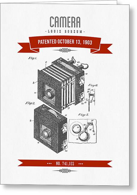 Camera Greeting Cards - 1903 Camera Patent Drawing - Retro Red Greeting Card by Aged Pixel