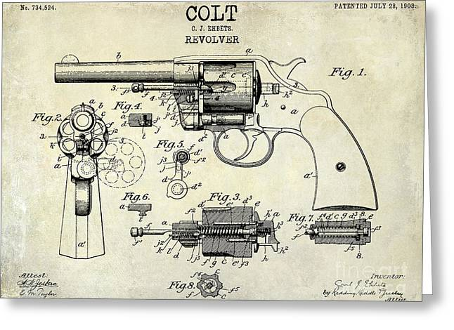 1903 Colt Revolver Patent Drawing Greeting Card by Jon Neidert