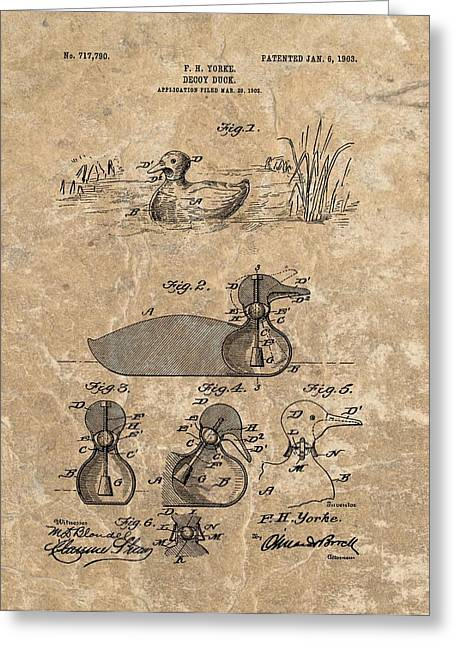 Duck Dynasty Greeting Cards - 1903 Duck Decoy Patent Greeting Card by Dan Sproul