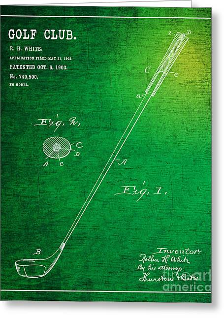 Balls Framed Prints Greeting Cards - 1903 Golf Club Patent Art Rollin H. White 1 Greeting Card by Nishanth Gopinathan