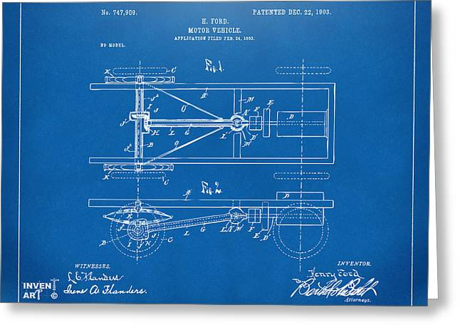 Conversations Greeting Cards - 1903 Henry Ford Model T Patent Blueprint Greeting Card by Nikki Marie Smith