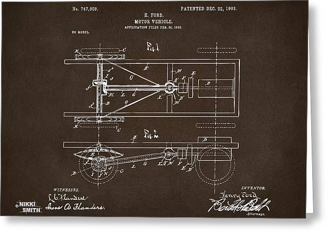 Conversations Greeting Cards - 1903 Henry Ford Model T Patent Espresso Greeting Card by Nikki Marie Smith