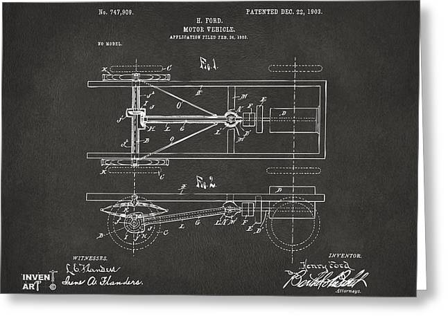 Grey Fine Art Greeting Cards - 1903 Henry Ford Model T Patent Gray Greeting Card by Nikki Marie Smith
