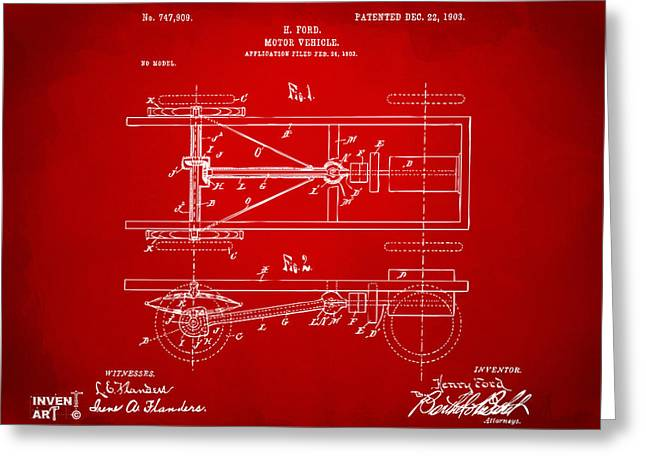 Conversations Greeting Cards - 1903 Henry Ford Model T Patent Red Greeting Card by Nikki Marie Smith