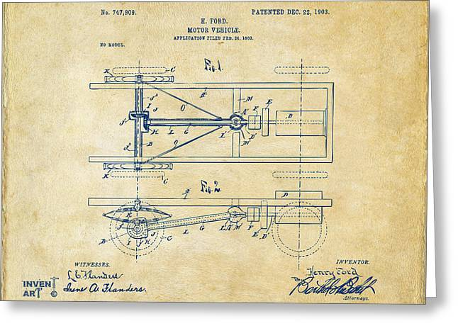Patent Artwork Greeting Cards - 1903 Henry Ford Model T Patent Vintage Greeting Card by Nikki Marie Smith