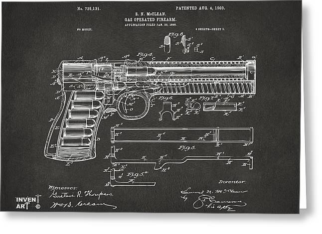 Grey Fine Art Greeting Cards - 1903 McClean Pistol Patent Artwork - Gray Greeting Card by Nikki Marie Smith