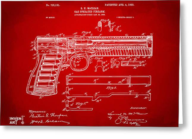 Blue Red And White Greeting Cards - 1903 McClean Pistol Patent Artwork - Red Greeting Card by Nikki Marie Smith