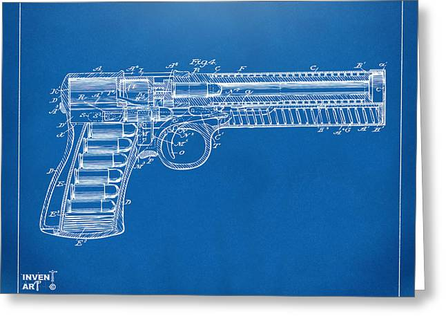 Xray Greeting Cards - 1903 McClean Pistol Patent Minimal - Blueprint Greeting Card by Nikki Marie Smith