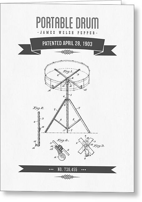 Recently Sold -  - Technical Mixed Media Greeting Cards - 1903 Portable Drum Patent Drawing Greeting Card by Aged Pixel