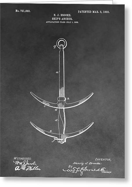 Brakes Drawings Greeting Cards - 1903 Ships Anchor Greeting Card by Dan Sproul