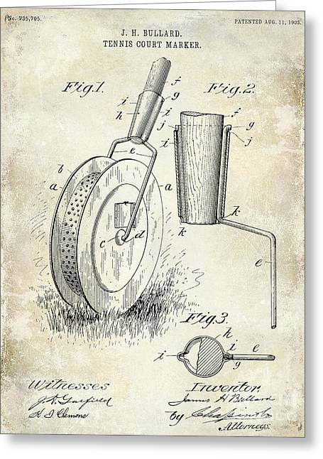Racquet Photographs Greeting Cards - 1903 Tennis Court Marker Patent Drawing Greeting Card by Jon Neidert