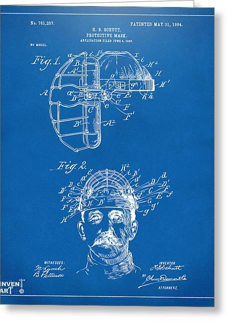 Baseball Game Greeting Cards - 1904 Baseball Catchers Mask Patent Artwork - Blueprint Greeting Card by Nikki Marie Smith