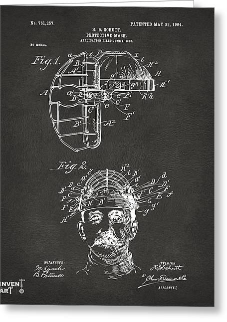 Sports Fan Greeting Cards - 1904 Baseball Catchers Mask Patent Artwork - Gray Greeting Card by Nikki Marie Smith