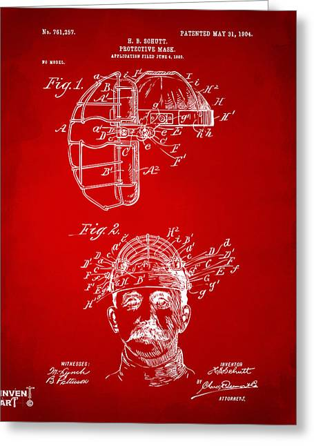Baseball Game Greeting Cards - 1904 Baseball Catchers Mask Patent Artwork - Red Greeting Card by Nikki Marie Smith