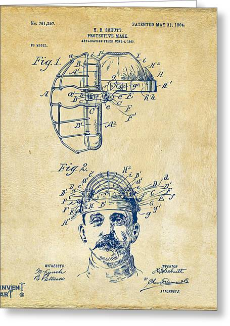 Baseball Game Greeting Cards - 1904 Baseball Catchers Mask Patent Artwork - Vintage Greeting Card by Nikki Marie Smith