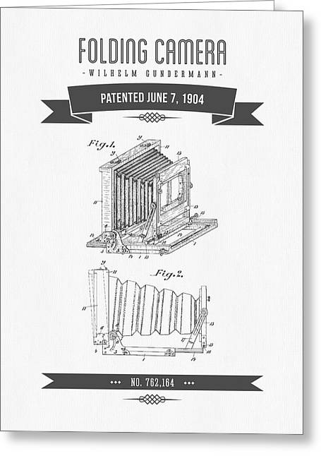 Camera Greeting Cards - 1904 Folding Camera Patent Drawing - Retro Gray Greeting Card by Aged Pixel