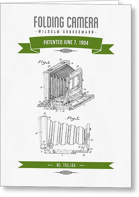 Camera Greeting Cards - 1904 Folding Camera Patent Drawing - Retro Green Greeting Card by Aged Pixel
