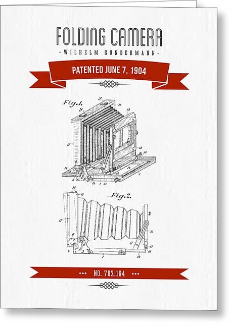 Camera Greeting Cards - 1904 Folding Camera Patent Drawing - Retro Red Greeting Card by Aged Pixel