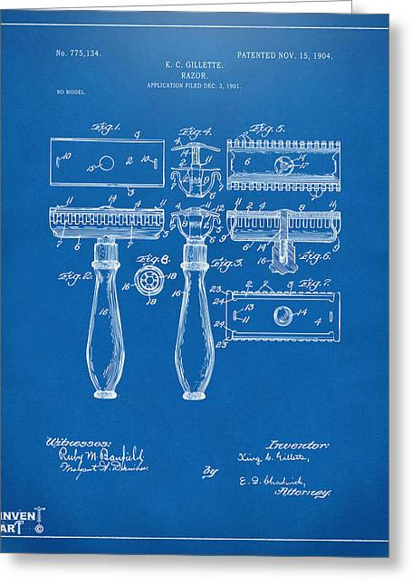 1904 Gillette Razor Patent Artwork Blueprint Greeting Card by Nikki Marie Smith
