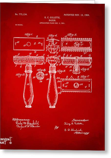 1904 Gillette Razor Patent Artwork Red Greeting Card by Nikki Marie Smith