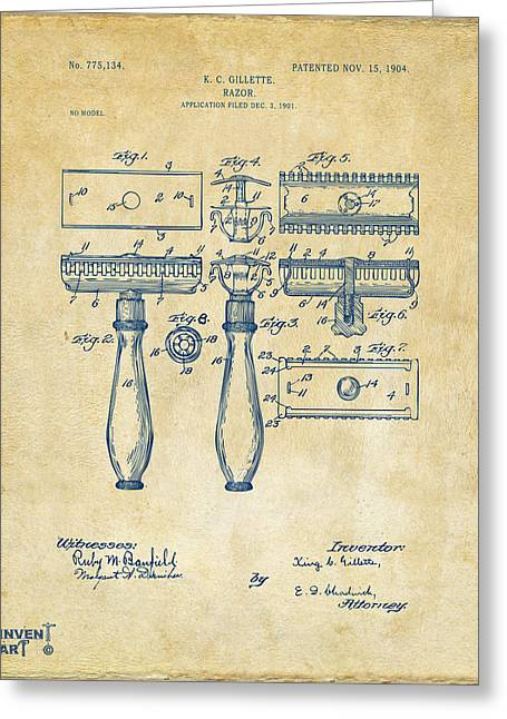 1904 Gillette Razor Patent Artwork Vintage Greeting Card by Nikki Marie Smith