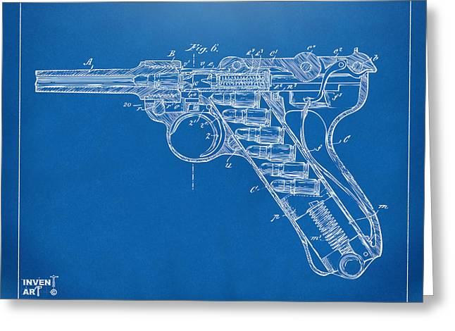 Xray Greeting Cards - 1904 Luger Recoil Loading Small Arms Patent Minimal - Blueprint Greeting Card by Nikki Marie Smith