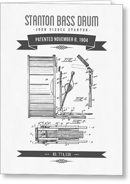 Folk Music Greeting Cards - 1904 Stanton Bass Drum Patent Drawing Greeting Card by Aged Pixel