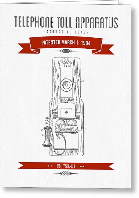 Vintage Radio Greeting Cards - 1904 Telephone Toll Apparatus Patent Drawing - Retro Red Greeting Card by Aged Pixel