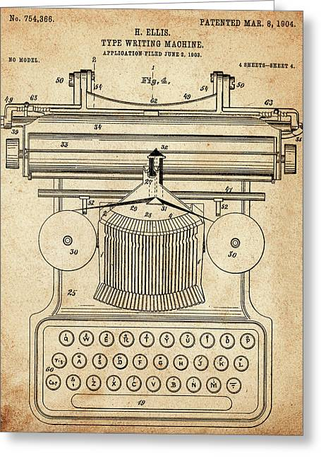 Typewriter Greeting Cards - 1904 Type Writer Patent Greeting Card by Digital Reproductions