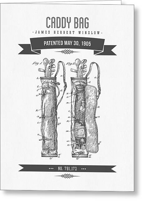 Caddy Greeting Cards - 1905 Caddy Bag Patent Drawing - Retro Gray Greeting Card by Aged Pixel