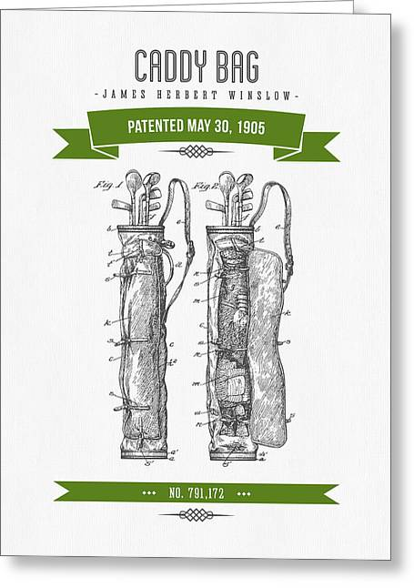 Caddy Greeting Cards - 1905 Caddy Bag Patent Drawing - Retro Green Greeting Card by Aged Pixel