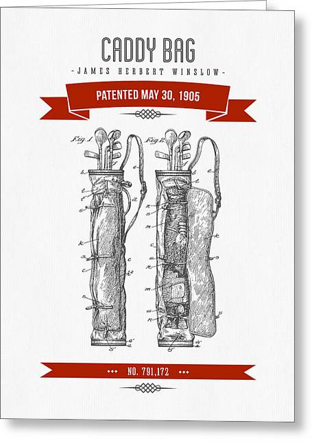 Caddy Greeting Cards - 1905 Caddy Bag Patent Drawing - Retro Red Greeting Card by Aged Pixel