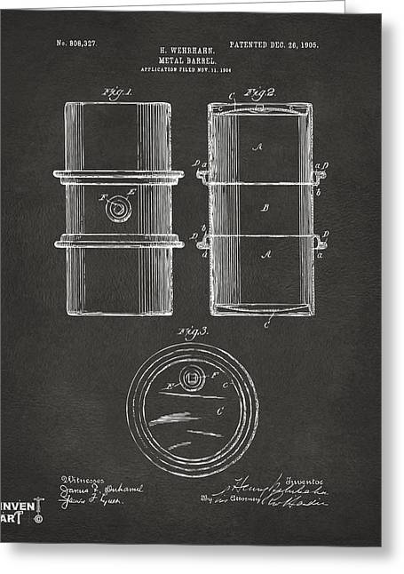 Baron Greeting Cards - 1905 Oil Drum Patent Artwork - Gray Greeting Card by Nikki Marie Smith