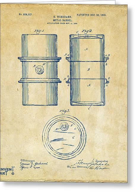 Baron Greeting Cards - 1905 Oil Drum Patent Artwork - Vintage Greeting Card by Nikki Marie Smith