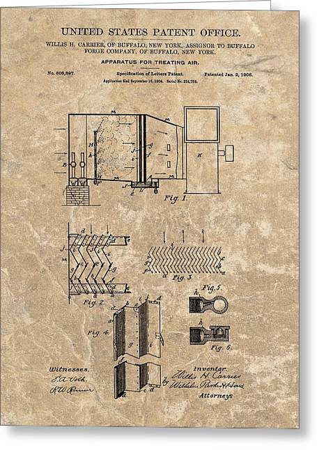 Air Conditioner Greeting Cards - 1906 Air Conditioner Patent Greeting Card by Dan Sproul