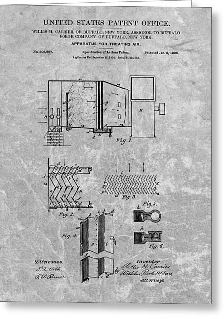 Air Conditioner Greeting Cards - 1906 Air Conditioning Unit Patent Greeting Card by Dan Sproul
